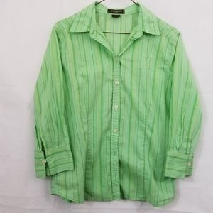 Eddie Bauer medium green stripe button down